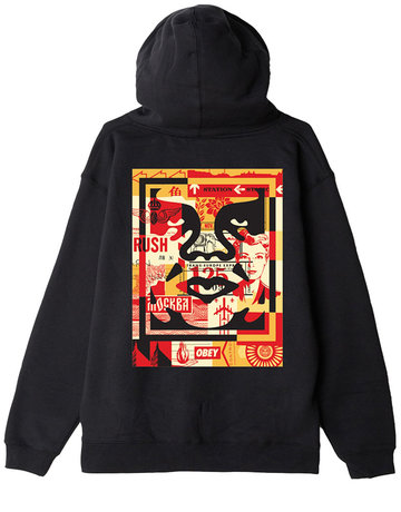 OBEY OBEY 3 FACE COLLAGE HOOD - BLACK