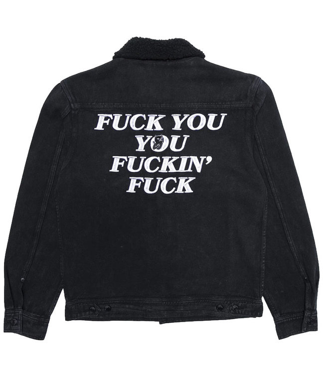 RIPNDIP FUCKING FUCK DENIM SHERPA JACKET - BLACK WASH
