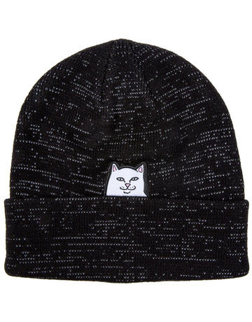 RIPNDIP LORD NERMAL RIBBED BEANIE - BLACK REFLECTIVE YARN