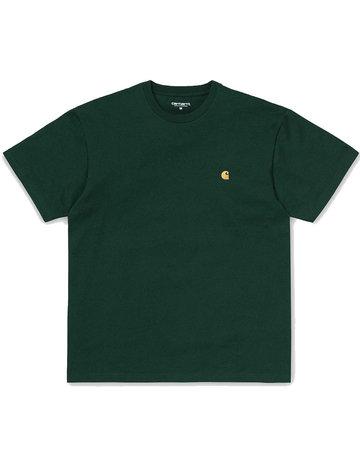 CARHARTT S/S CHASE T-SHIRT - BOTTLE GREEN/GOLD