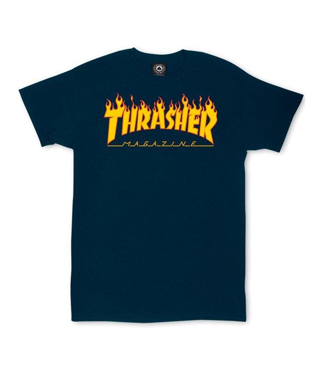 THRASHER FLAME LOGO TEE - NAVY