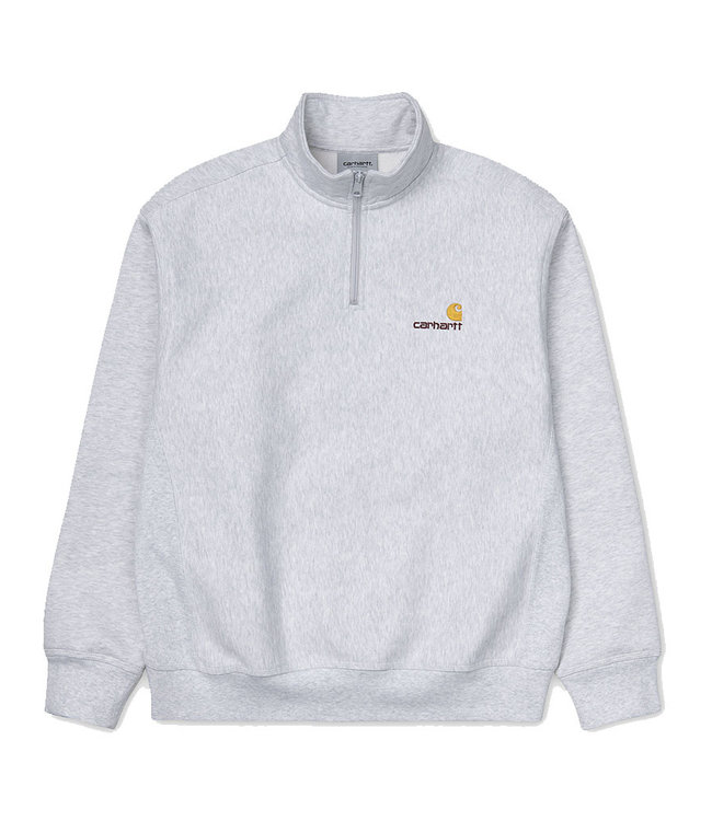 CARHARTT HALF ZIP AMERICAN SCRIPT SWEAT - ASH HEATHER