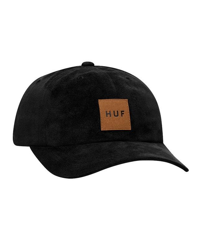 HUF BOX LOGO SUEDE CV 6 PANEL HAT - BLACK