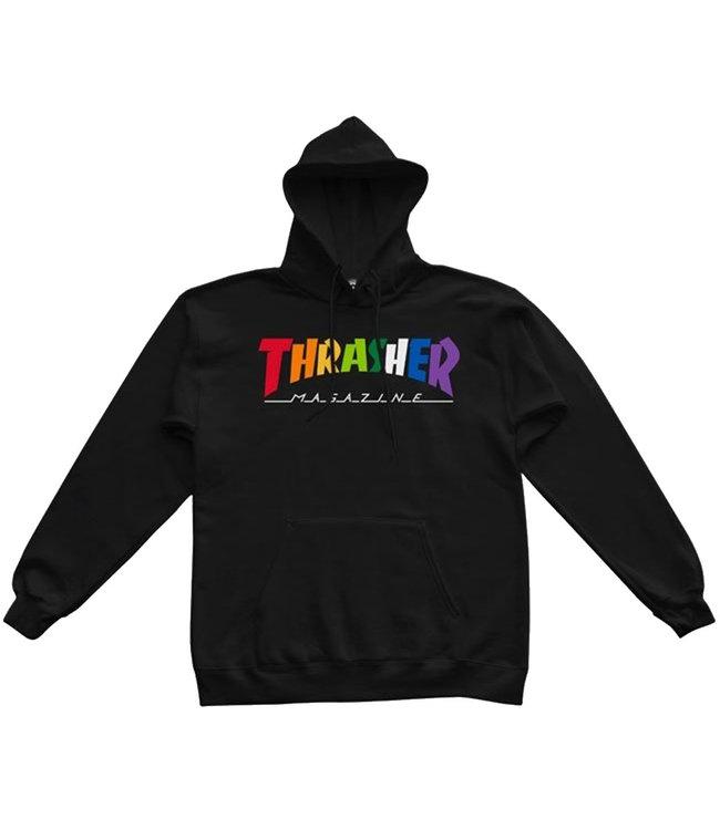 THRASHER RAINBOW MAG HOOD - BLACK