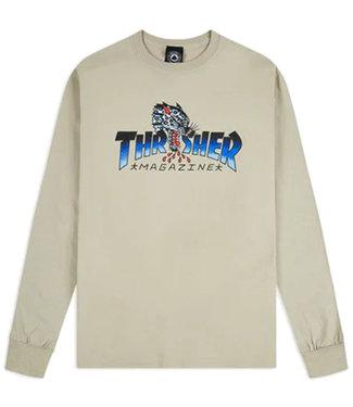 THRASHER LEOPARD MAG L/S - SAND