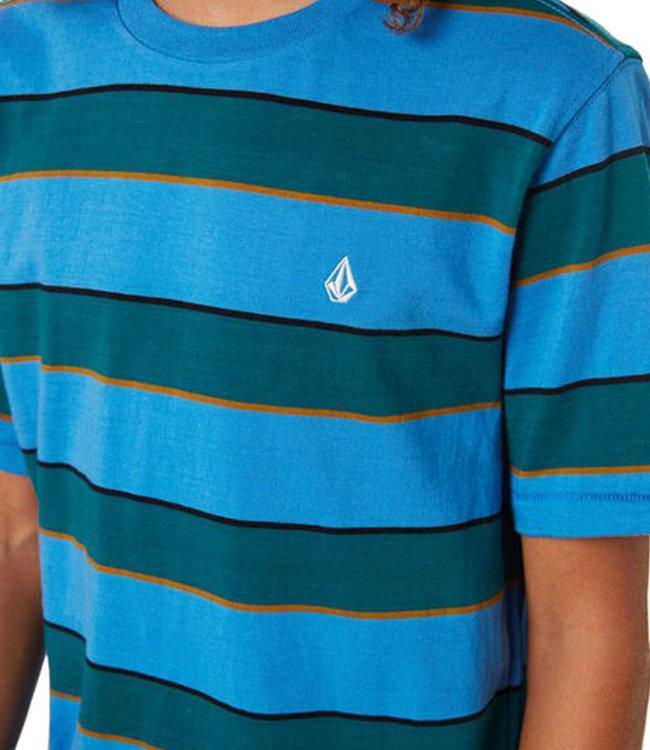 VOLCOM KEATES STRIPE CREW S/S - BALLPOINT BLUE