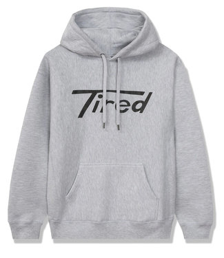 TIRED LONG T LOGO PULLOVER HOODIE - HEATHER GREY