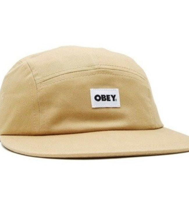 OBEY BOLD LABEL ORGANIC 5 PANEL HAT - ALMOND