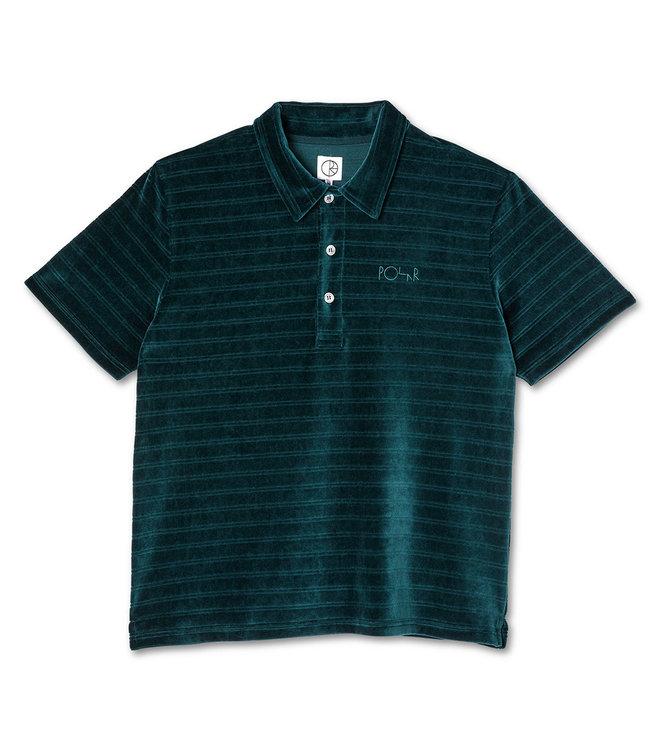 POLAR Stripe Velour Polo Shirt - Dark Green