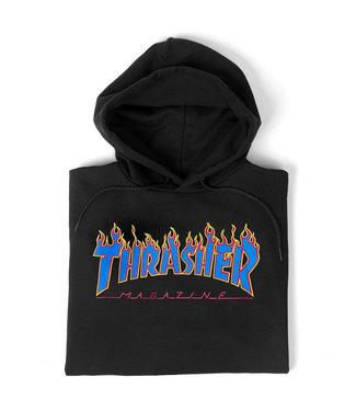THRASHER Flame Hooded Sweat - Black/blue