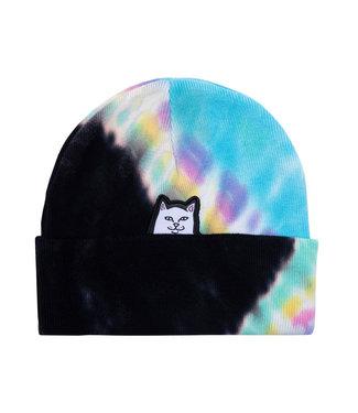 RIPNDIP Lord Nermal Beanie - Black & Rainbow Tie Dye