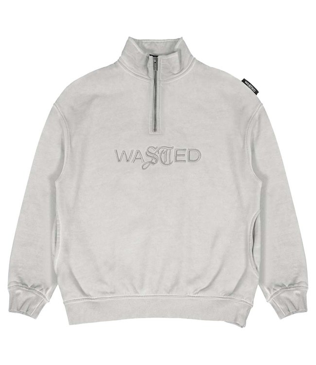 WASTED PARIS Funnel Half Zip Chill Signature Faded - Fog - White Remark:Oversized Fit)