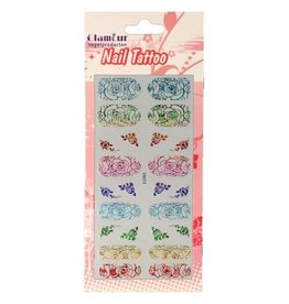 Nail Tattoo Flower Multicolor