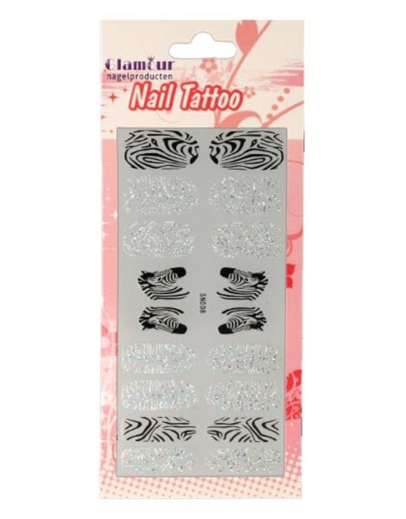 Nail Tattoo Zebra Glitter