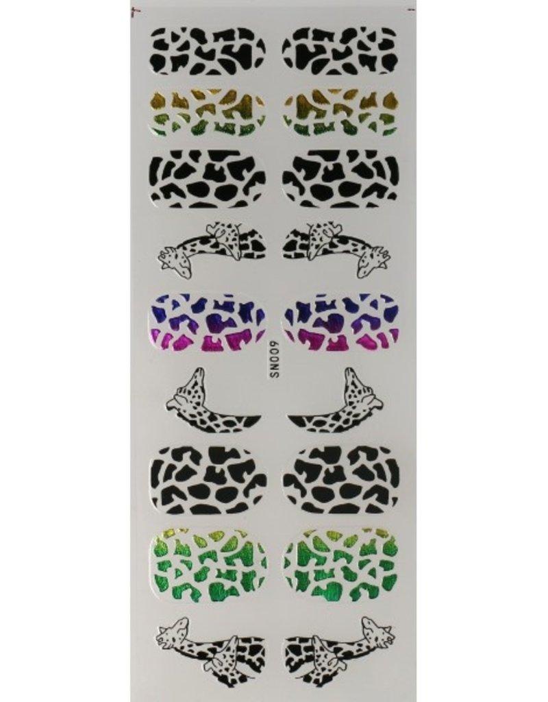 Nail Tattoo Giraffe Multicolor