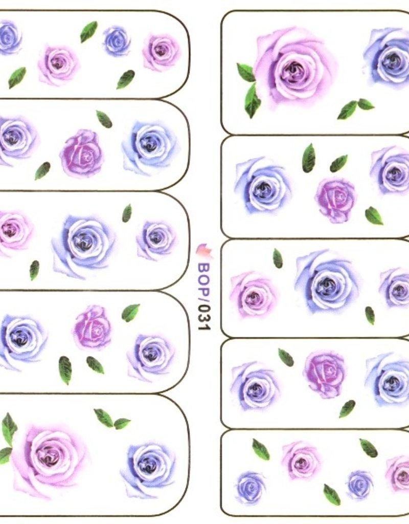 Waterdecal Rose Blue/Purple