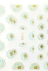 3D Sticker Blue/Gold Big Flower