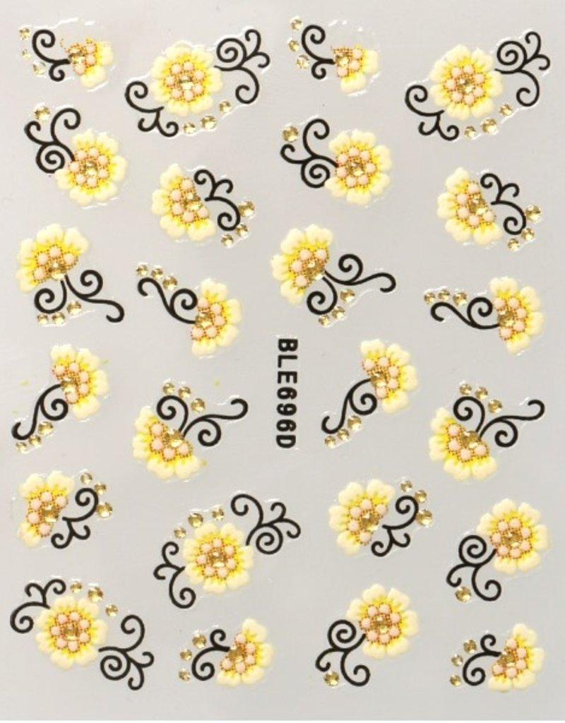 3D Sticker White/Yellow/Black