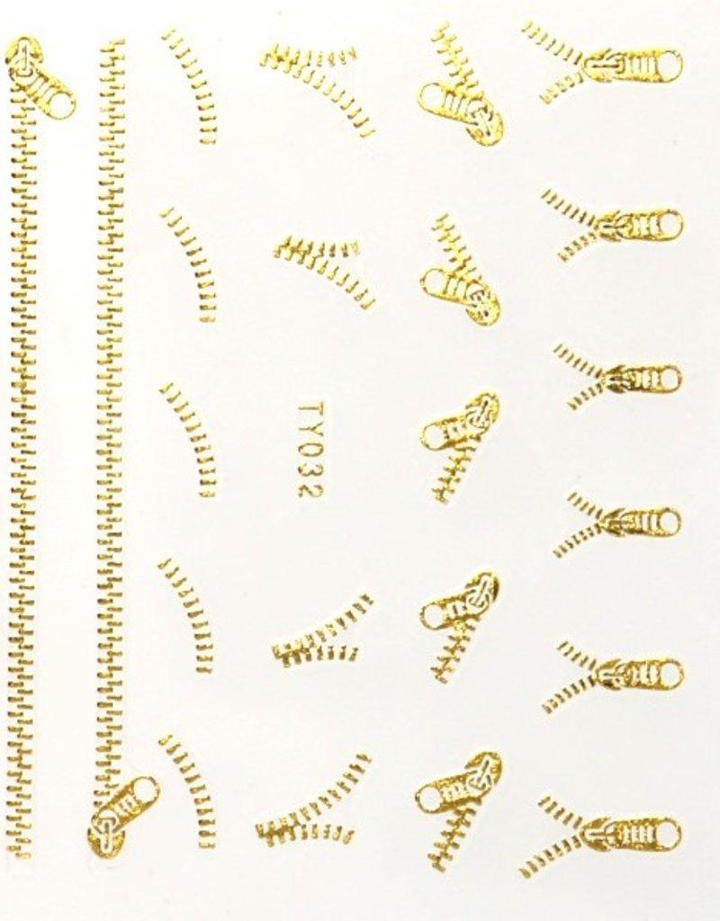3D Sticker Gold Zipper