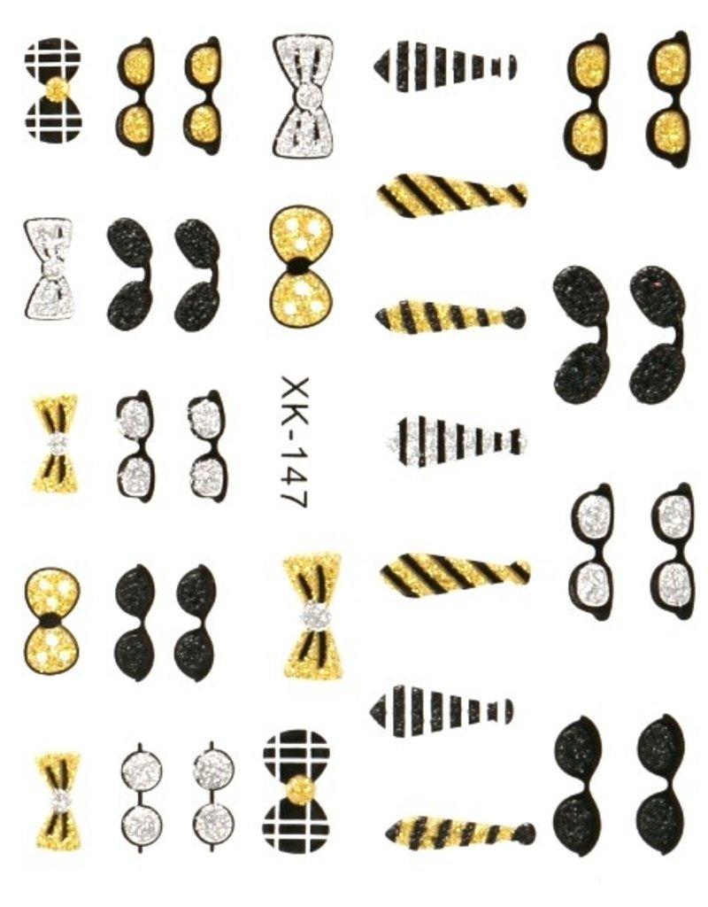 3D Sticker Glitter Hat & Tie