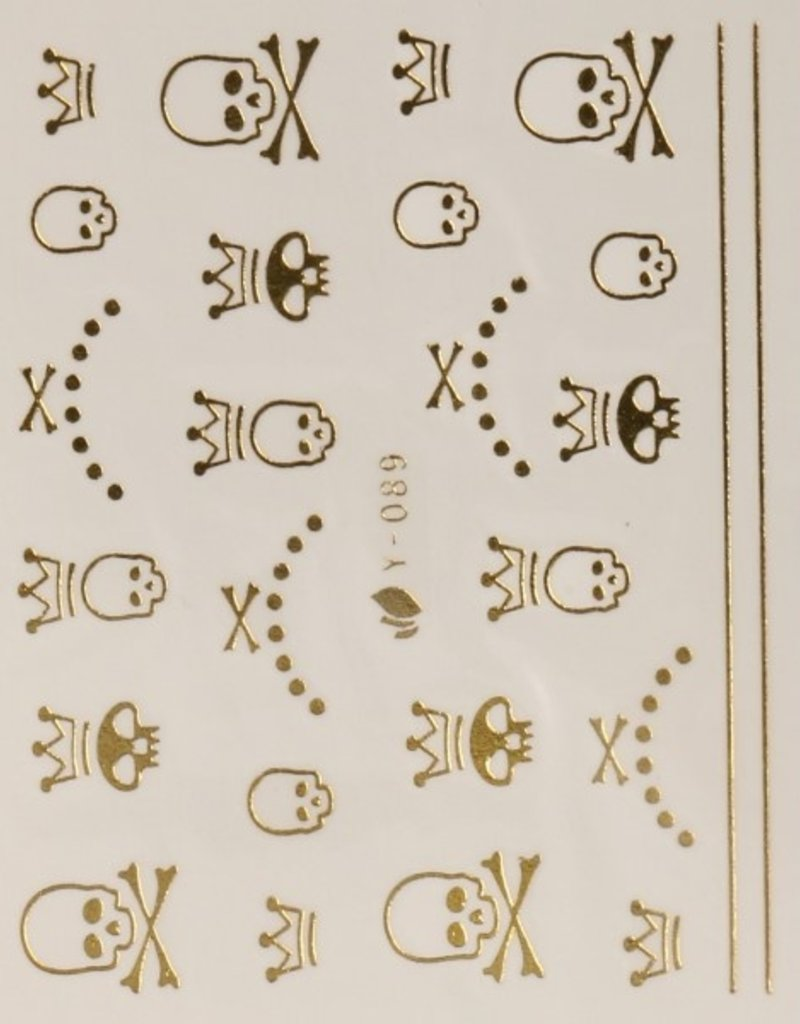 3D Sticker Gold Skull