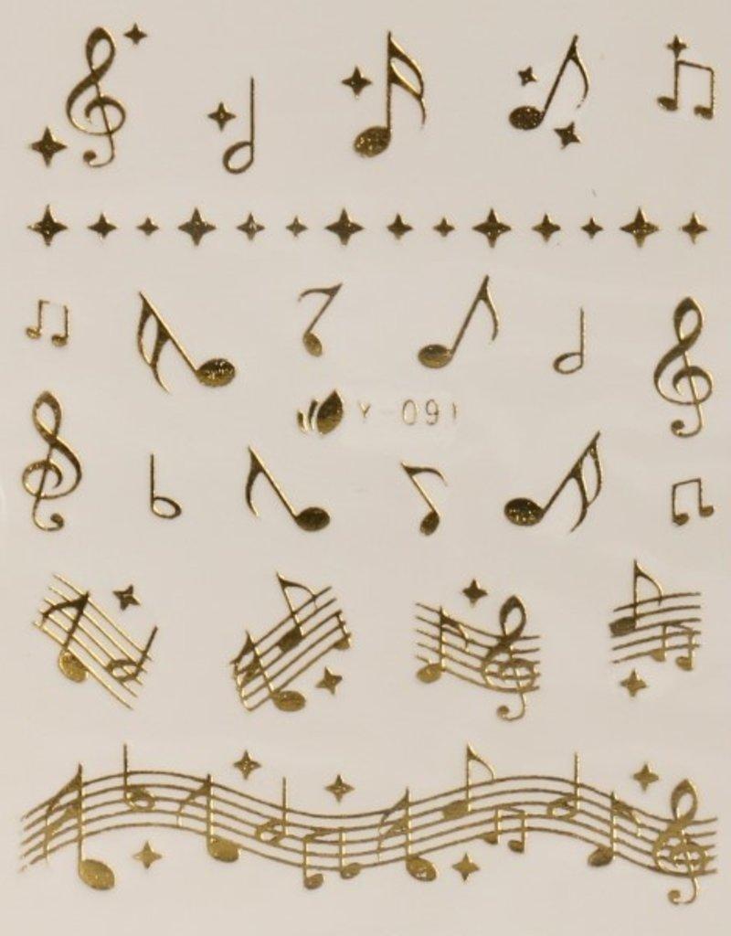 3D Sticker Gold Music