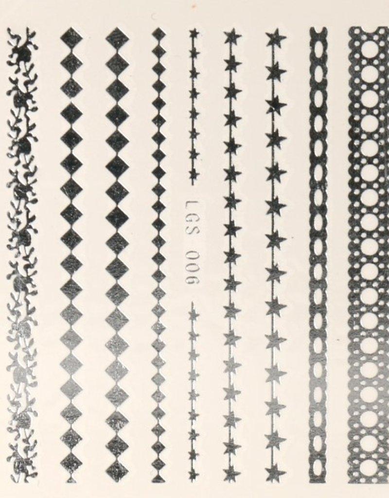3D Sticker Silver Stripes