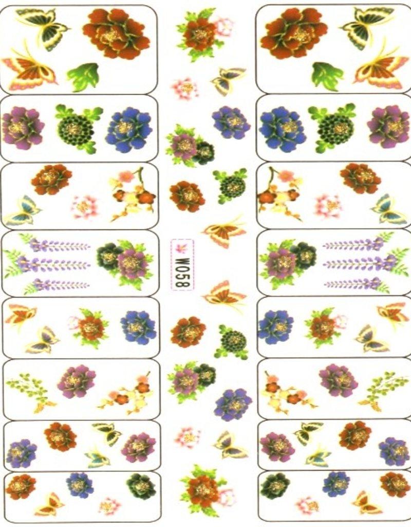 Waterdecal Flower/Butterfly