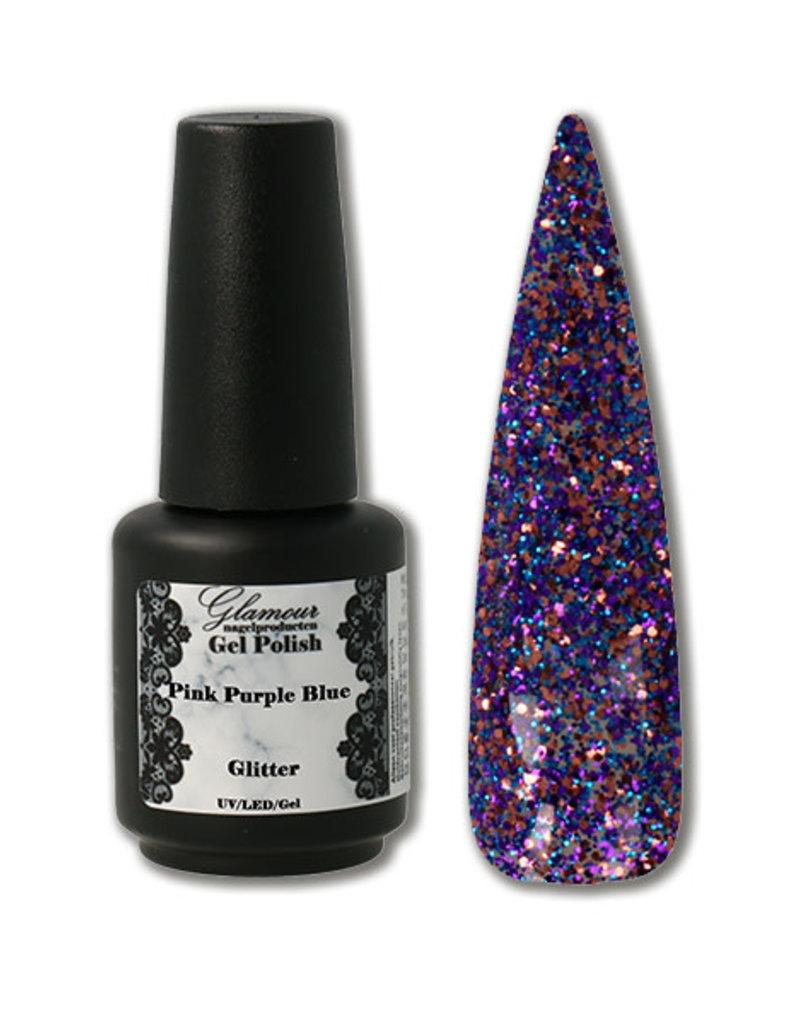 Gel On Glitter Pink Purple Blue