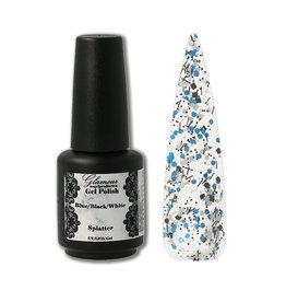 Gel On Splatter Blue Black White