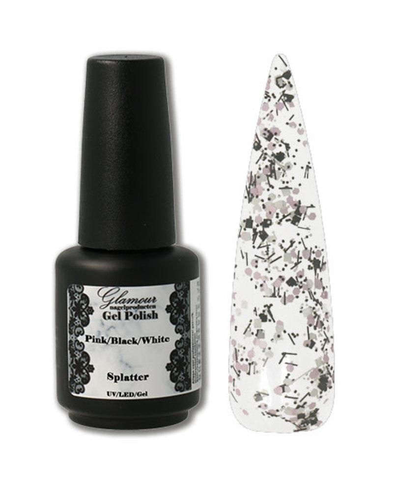 Gel On Splatter Pink Black White