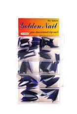 Duotone Stiletto Tips Dark Blue-White