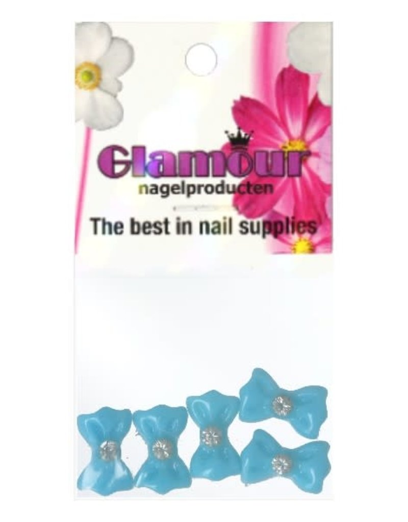 3D Bows Turquoise Strass