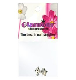 3D Bow Strass White/Silver Metal