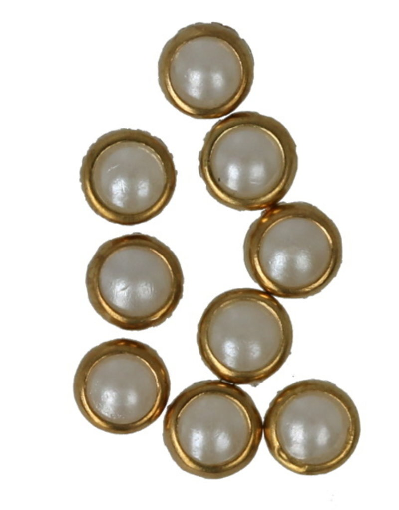 White Pearls Gold Edge