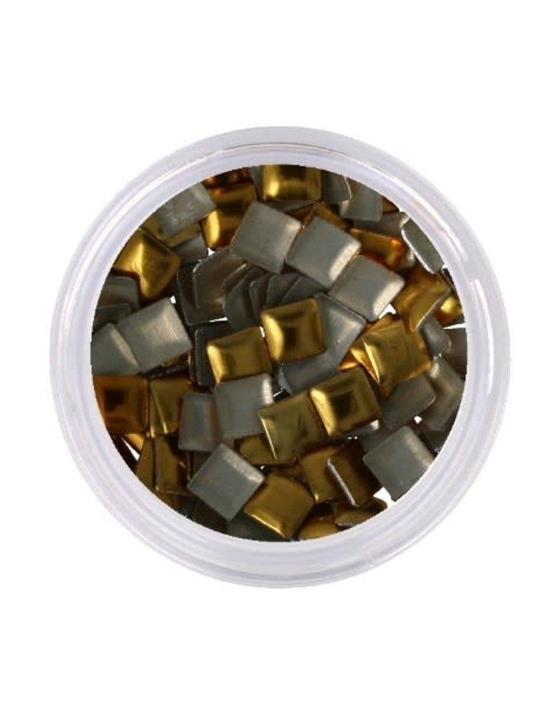 Metallic Studs Gold Square