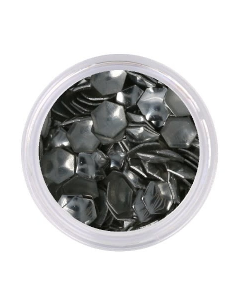 Metallic Studs Hexagon Silver
