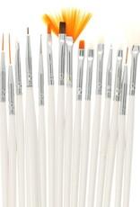 Brush Set Nailart White 15 pcs