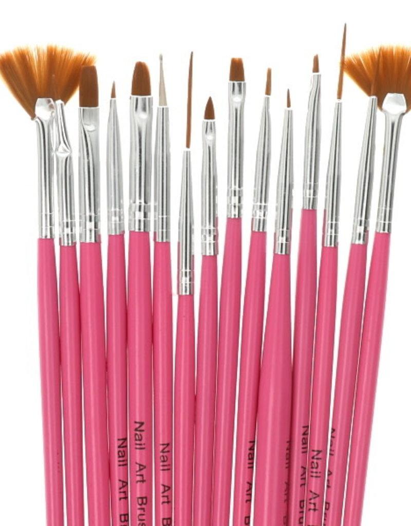 Brush Set Nailart Pink 12 pcs