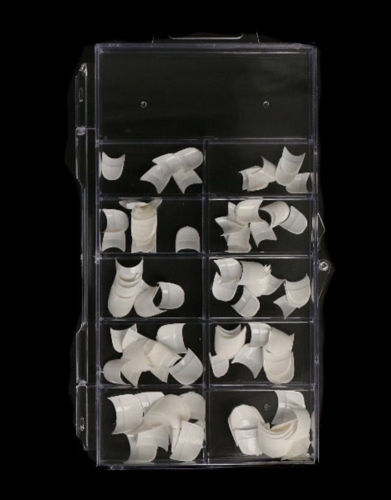 100 Tips French White Short Round Sorting Box
