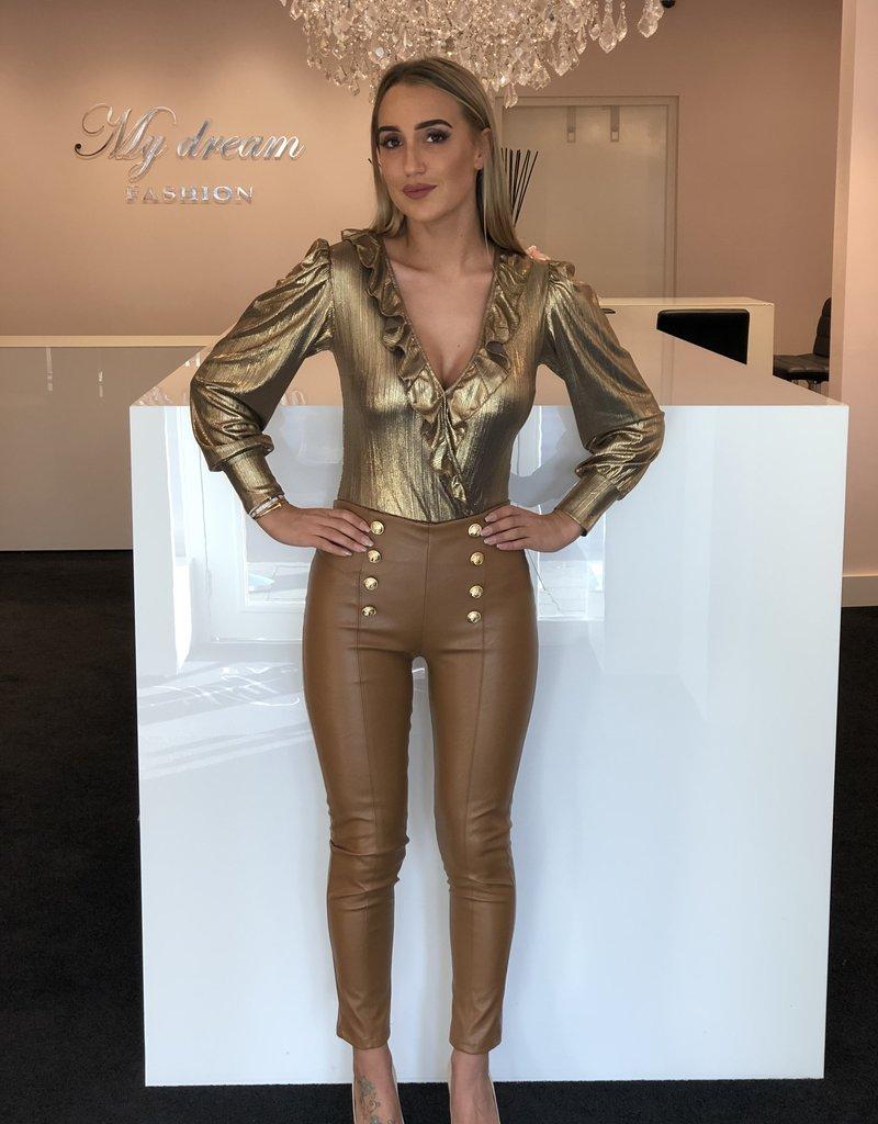 Skai leren broek met gouden knopen