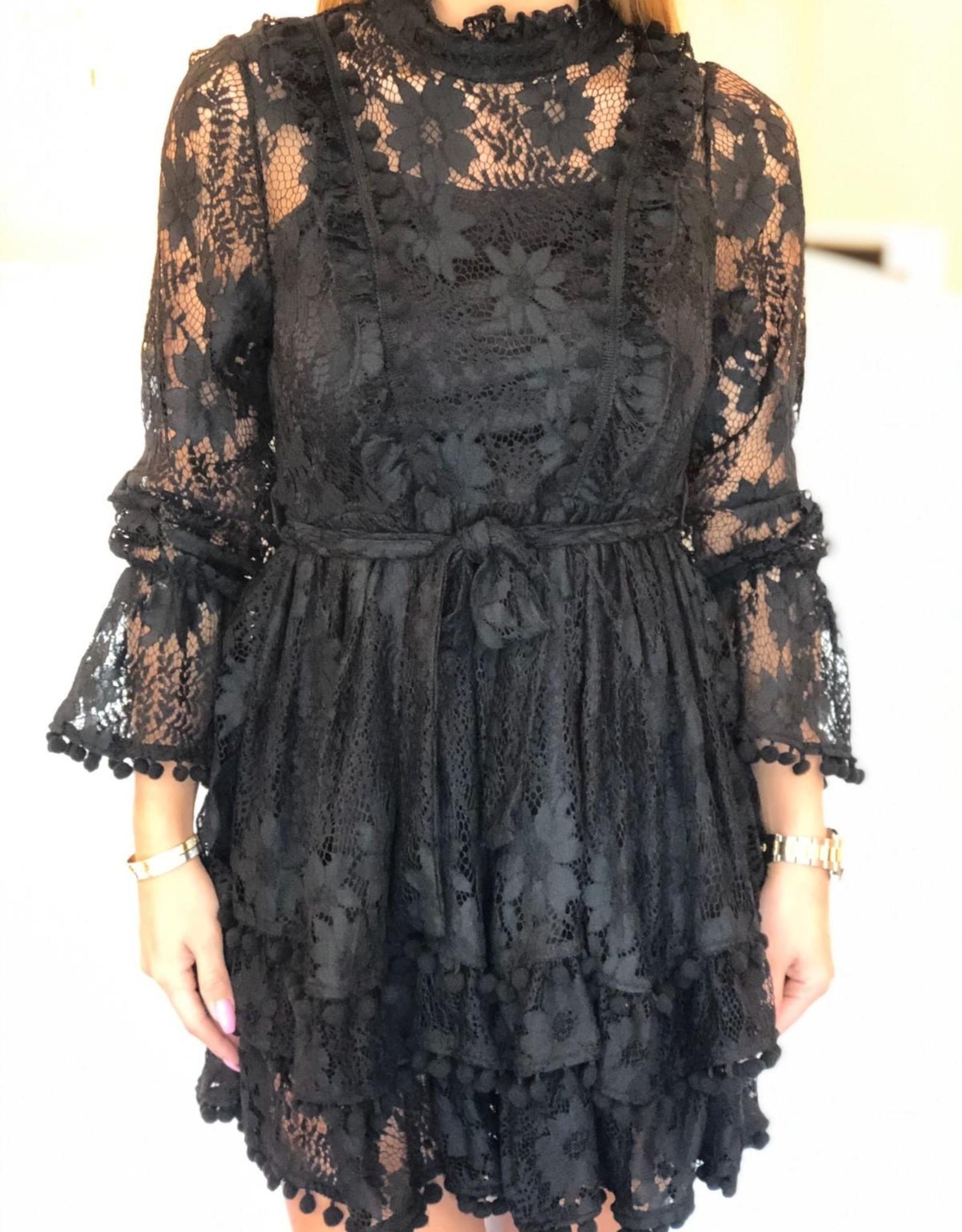 Zwart kant jurkje