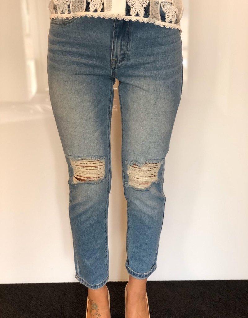 Spijkerbroek baggy scheuren
