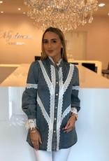 Spijker blouse met wit