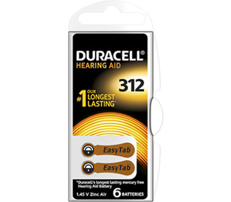 Duracell DA312 PR41 Easytab Zinc Air 1,4V Blister 6