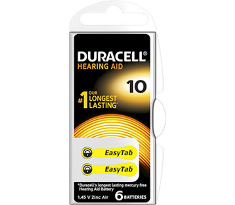 Duracell DA10 PR70 Easytab Zinc Air 1,4V Blister 6