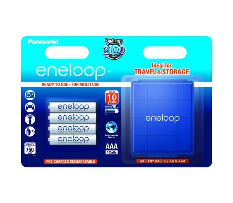 Panasonic Eneloop BK-4MCCEC AAA 750mAh Blister 4 + Case