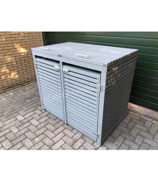 Kliko-ombouw voor 2 containers kleur grijs