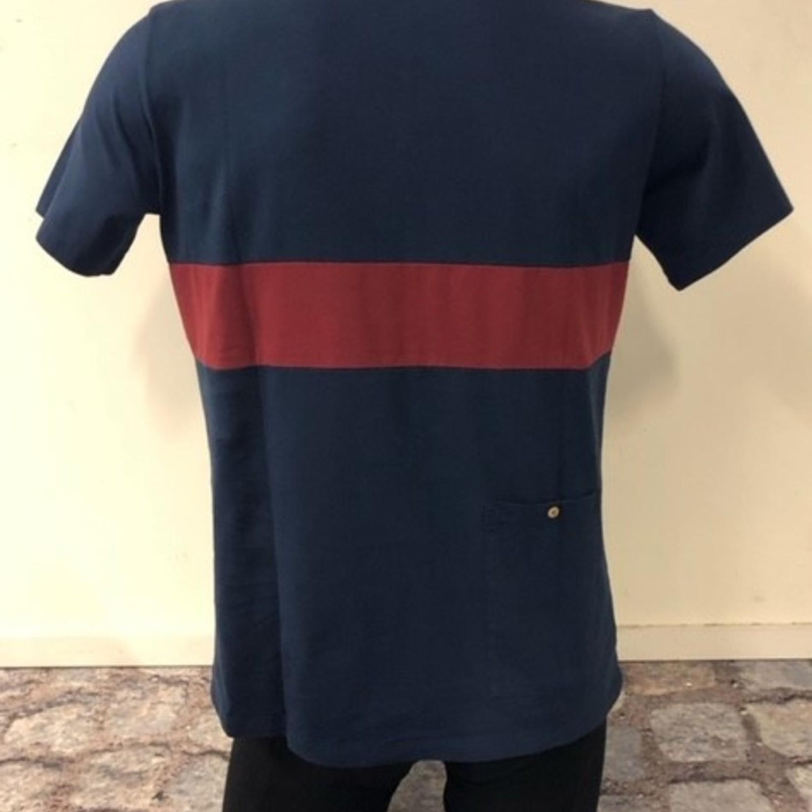 Polo 'Leon' blauw/bordeaux