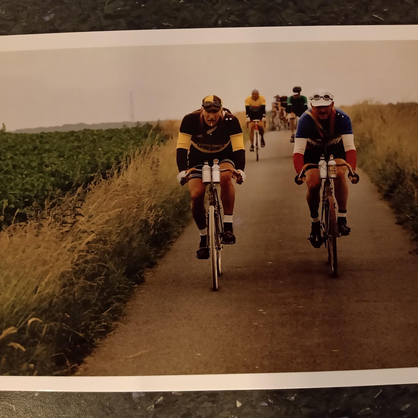 Postkaart 'Retroronde (2 wielrenners)'
